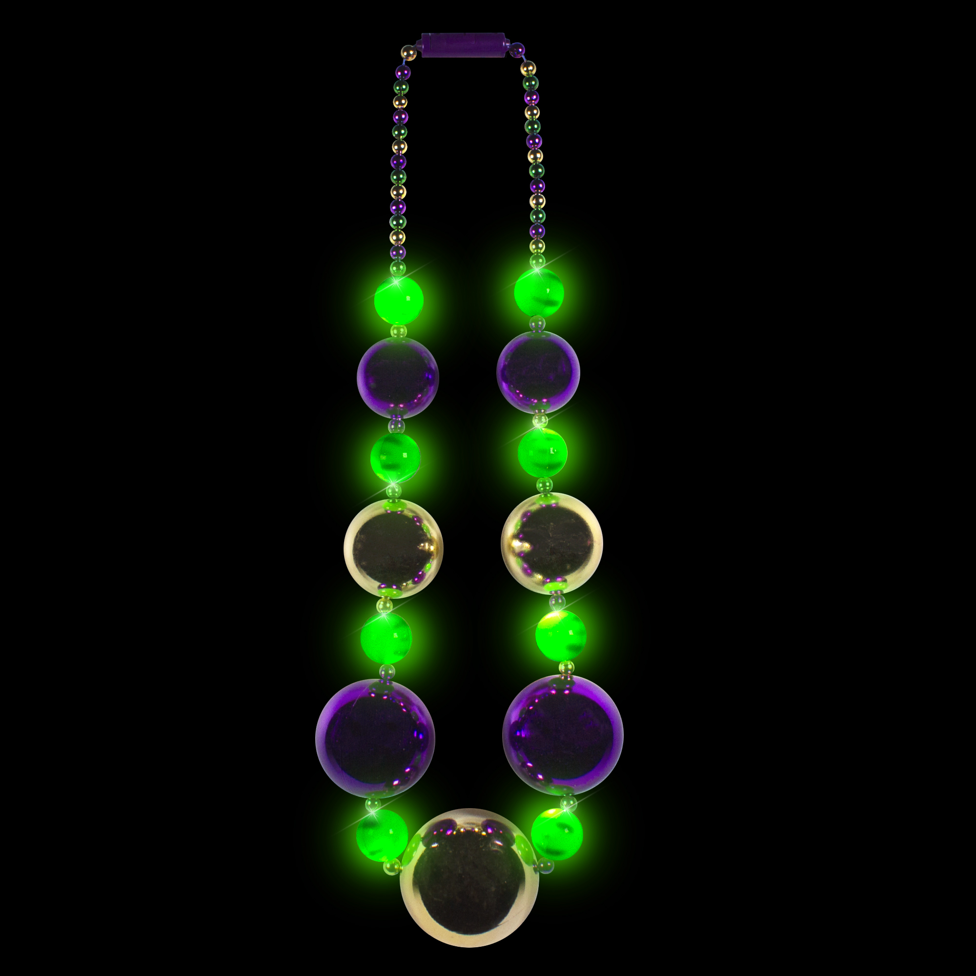 JUMBO 8 LED MARDI GRAS BALL BEADS NECKLACE
