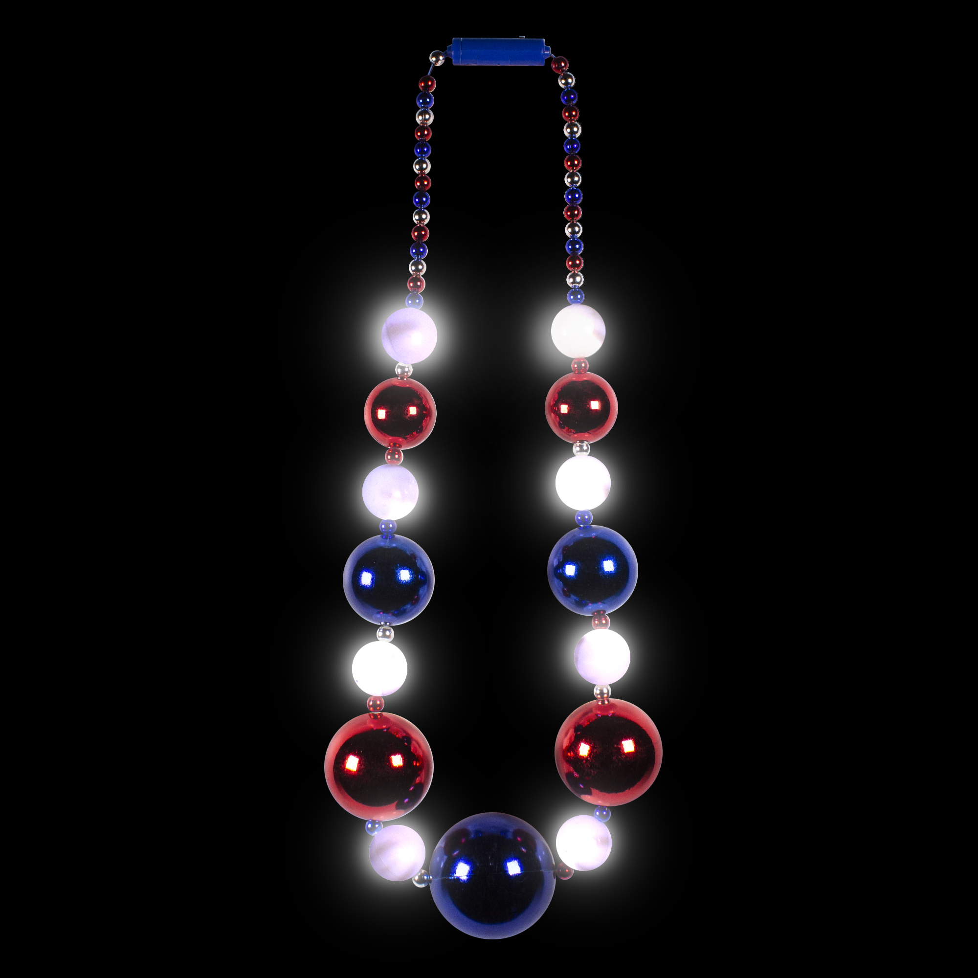 JUMBO 8 LED PATRIOTIC BALL BEADS NECKLACE
