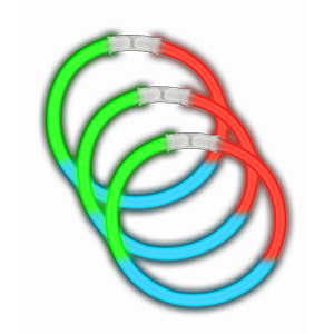 8 Inch Glow Bracelets - Green-Blue-Red