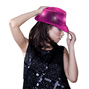 LED Sequin Fedora - Hot Pink