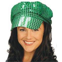 SEQUIN NEWSBOY CAP - GREEN