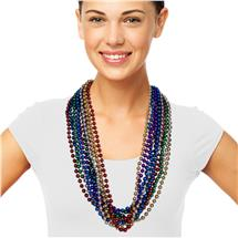 33 INCH MULTICOLOR  METALLIC BEAD NECKLACES