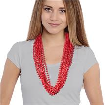 33 Inch Red Round Bead Solid Color Necklcae