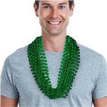 33 INCH GREEN METALLIC BEAD NECKLACES