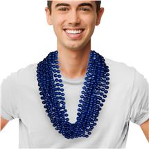 33 INCH METALLIC BLUE BEAD NECKLACE