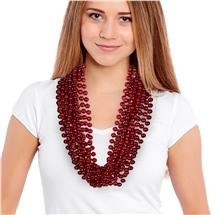 33 INCH RED METALLIC BEAD NECKLACES