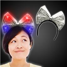 SILVER LED AND LIGHT - UP SEQUIN BOW HEADBAND