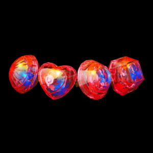LED Jumbo Gem Rings - Red