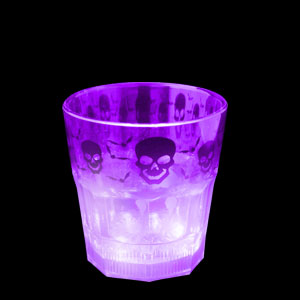 LED Halloween Rocks Glass - 8 oz. Purple Skulls