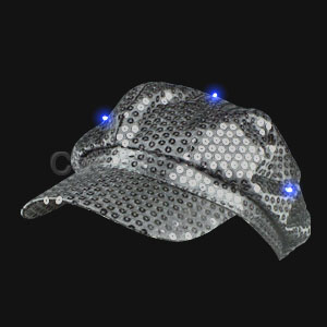 LED Sequin Newsboy Hat - Silver