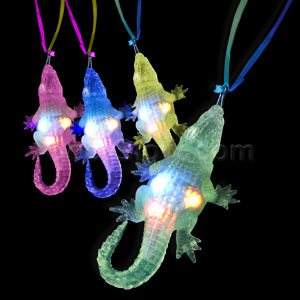 LED Jelly Alligator Necklaces - Assorted