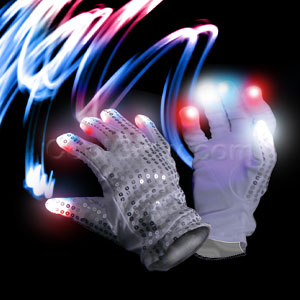 LED Patriotic Sequin Glove - Right Hand