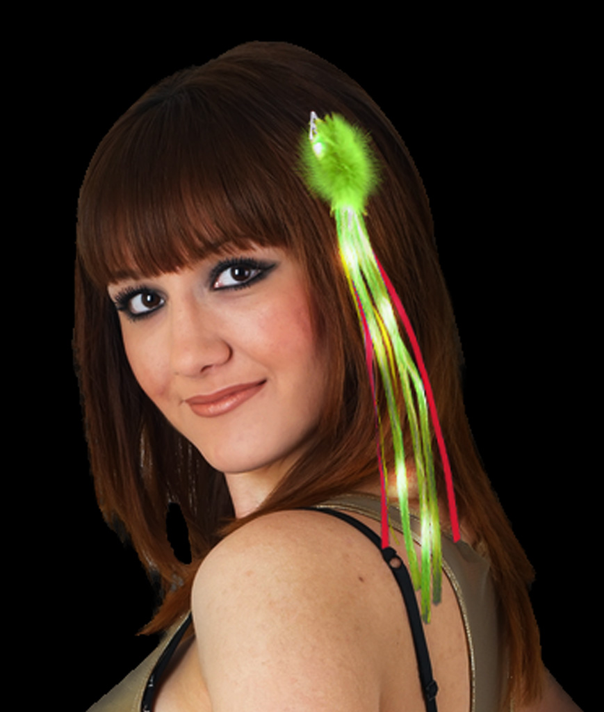 Fun Central AI626 LED Light Up Ribbon Hair Extension - Red and Green