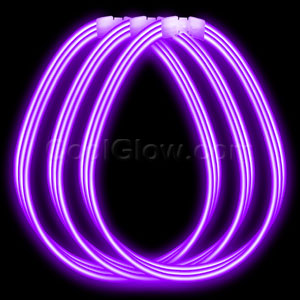 22 Inch Super Wide Glow Necklaces - Purple