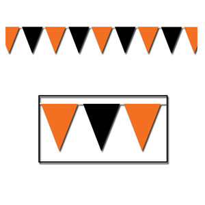 Orange and Black Pennant Banner - 30ft