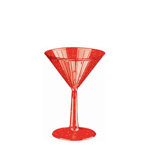Red Glitter Martini Glasses- 6oz. 8ct