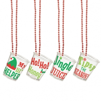 Christmas Plastic Shot Glass Bead Necklaces