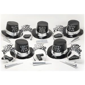 Black-Silver New Years Party Kit for 10- 38pc
