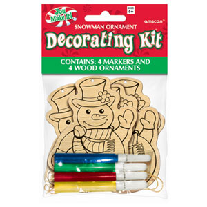 Snowman Wood Ornament Kit- 8pc