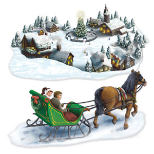 Holiday Village and Sleigh Ride Props - 2ct