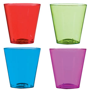 Assorted Color Plastic Shot Glasses- 2oz. 40ct