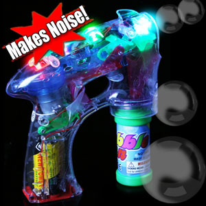 LED Noisemaker Bubble Gun - 7 Inch
