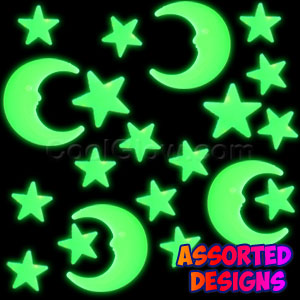 Glow Stickers - Jumbo Moon and Stars