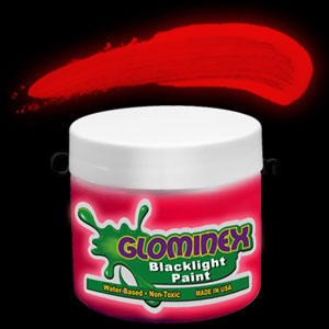 Glominex Blacklight UV Reactive Paint 4 oz Jar - Red