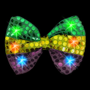 LED Mardi Gras Sequin Bow Tie