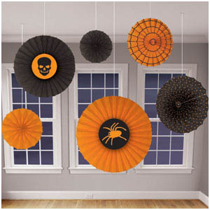 Halloween Paper Fan Decorations- 6ct
