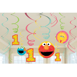 Sesame Street 1st Birthday Hanging Swirls - 12ct
