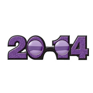 2014 Plastic Glitter Glasses- Purple