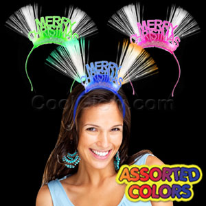 LED Fiber Optic Christmas Headbands - Assorted