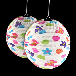 Flowers and Dots 9 Inch Round Lantern
