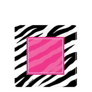 Zebra Party Square 7 Inch Plates- 8ct
