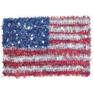 USA Flag Tinsel Wreath- 18in