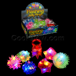 Fun Central AC809 LED Light Up Jelly Rings - Assorted Styles