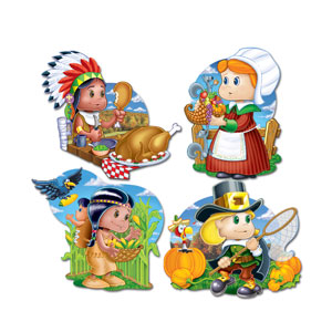 Thanksgiving Kiddie Cutouts - 4ct