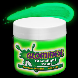 Glominex Blacklight UV Reactive Paint 8 oz Jar - Green