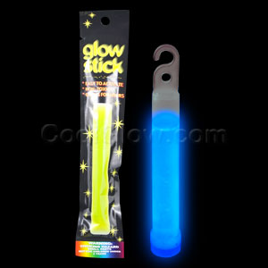 Fun Central I18 4 Inch Retail Packaged Glow in the Dark Stick - Blue