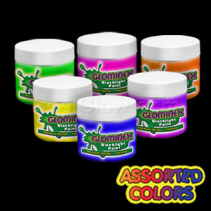 Glominex Blacklight UV Reactive Paint 4 oz Jars - Assorted
