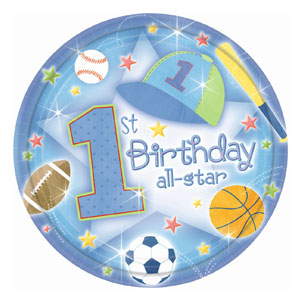 First Birthday All-Star Dinner Plates - 18ct