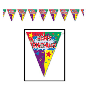 Happy Birthday Pennant Banner - 12 foot