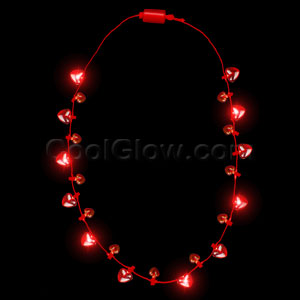 LED Light Up Hearts Necklace