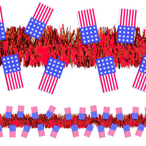 American Flag Tinsel Garland - 15ft