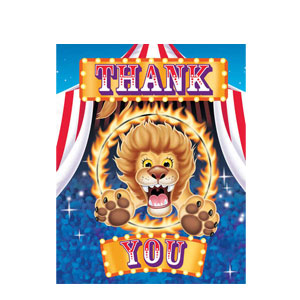 Big Top Birthday Thank You Cards- 8ct