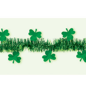 Tinsel Garland with Shamrocks-Green