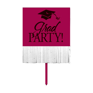 Grad Fringe Yard Sign - Maroon