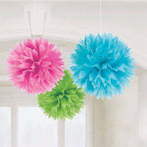 Multicolored Fluffy Decorations- 3ct