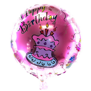 Pink Birthday Cake 18 Inch Metallic Balloon